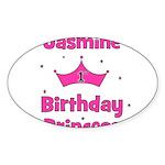 1st Birthday Princess Jasmine Oval Sticker