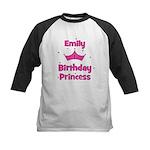 1st Birthday Princess Emily! Kids Baseball Jersey