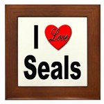 I Love Seals Framed Tile