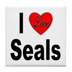 I Love Seals Tile Coaster