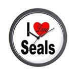 I Love Seals Wall Clock