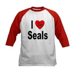 I Love Seals (Front) Kids Baseball Jersey
