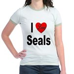 I Love Seals (Front) Jr. Ringer T-Shirt