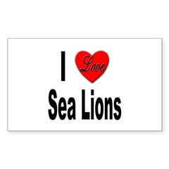 I Love Sea Lions Rectangle Decal