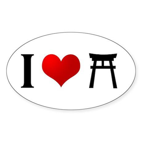 I Love Shintoism Oval Sticker