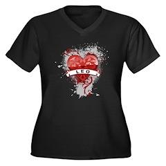 Heart Leo Women's Plus Size V-Neck Dark T-Shirt