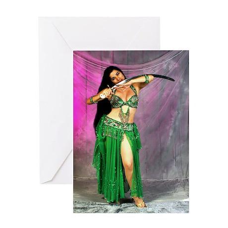 Arabian Fantasy Belly Dancer Greeting Card
