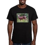 Doe in Grass Men's Fitted T-Shirt (dark)
