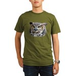 Great Horned Owl Face Organic Men's T-Shirt (dark)