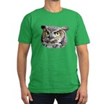 Great Horned Owl Face Men's Fitted T-Shirt (dark)