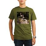 Two Turkeys on a Log Organic Men's T-Shirt (dark)