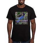 Steller's Jay on Branch Men's Fitted T-Shirt (dark