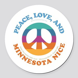 Peace, Love and MN Nice Round Car Magnet