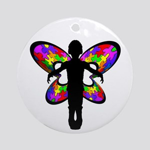 Autistic Butterfly Ornament (Round)