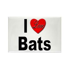 I Love Bats Rectangle Magnet (10 pack)