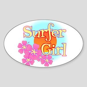 Surfer Girl Oval Sticker