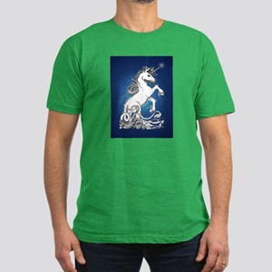 Blue Rearing Guardian Unicorn Men's Fitted T-Shirt