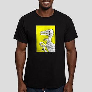 Bold Yellow Velociraptor! Men's Fitted T-Shirt (da