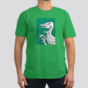 Bold Green Velociraptor! Men's Fitted T-Shirt (dar