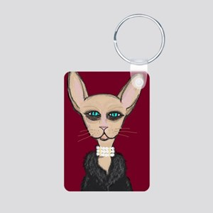 Hairless Cat in Fur Coat Keychains