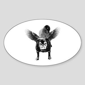 Pug Angel Oval Sticker