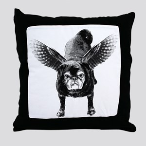 Pug Angel Throw Pillow
