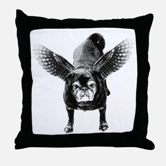 Pug Angel Throw Pillow