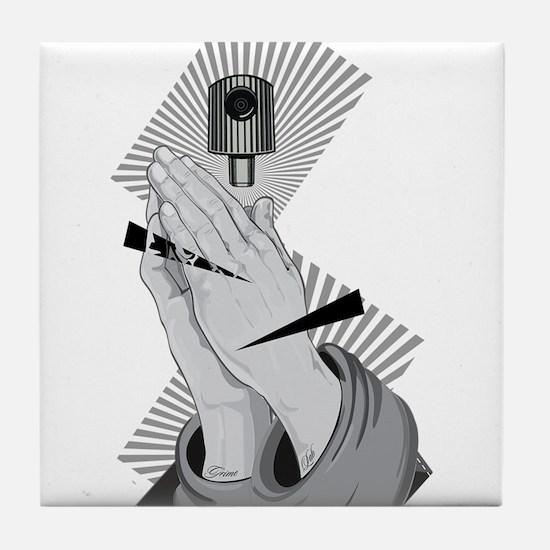 Praying Hands Graffiti Tile Coaster