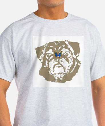 Pug and Butterfly Ash Grey T-Shirt