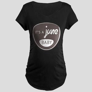Gray It's a June Baby Maternity Dark T-Shirt