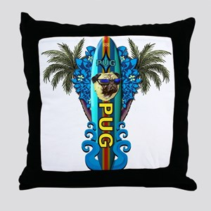 Beach Pug Throw Pillow