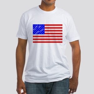 Dog Tracks Hidden in Flag Fitted T-Shirt