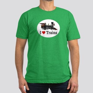 I LOVE TRAINS Men's Fitted T-Shirt (dark)