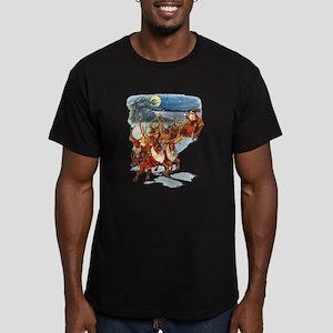 SANTA & HIS REINDEER Men's Fitted T-Shirt (dark)