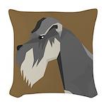 Schnauzer Head Woven Throw Pillow