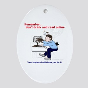 Don't Drink and Read Oval Ornament