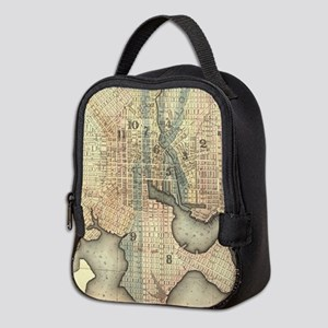 Vintage Map of Baltimore Maryla Neoprene Lunch Bag