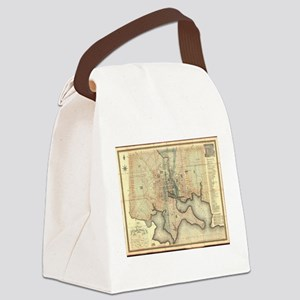 Vintage Map of Baltimore Maryland Canvas Lunch Bag