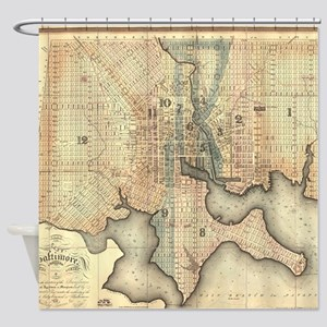 Vintage Map of Baltimore Maryland ( Shower Curtain
