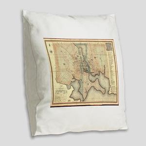 Vintage Map of Baltimore Maryl Burlap Throw Pillow