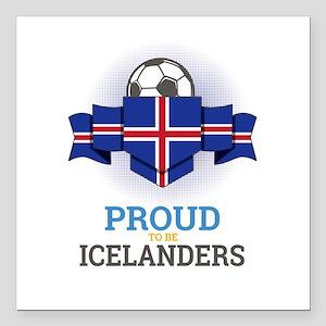"Football Icelanders Icel Square Car Magnet 3"" x 3"""