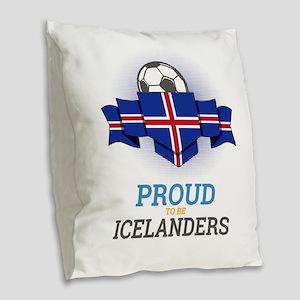 Football Icelanders Iceland So Burlap Throw Pillow