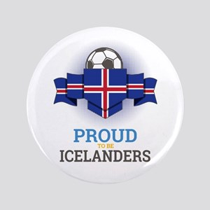 "Football Icelanders Iceland Soccer Tea 3.5"" Button"