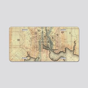 Vintage Map of Baltimore Ma Aluminum License Plate