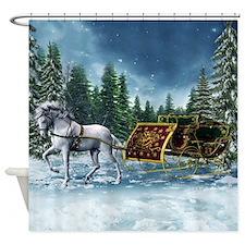 Christmas Sleigh Shower Curtain