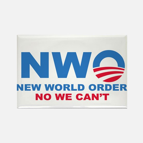 No Obama NWO No we can't Rectangle Magnet