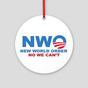 No Obama NWO No we can't Ornament (Round)
