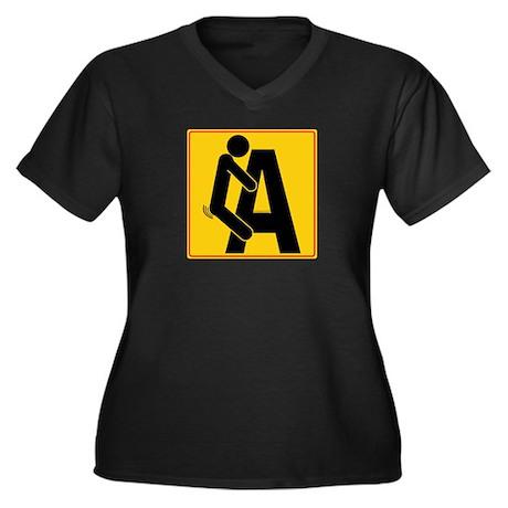 F 'n A! Women's Plus Size V-Neck Dark T-Shirt
