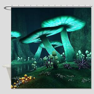 Luminous Mushrooms Shower Curtain