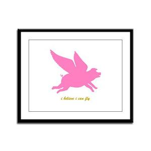 Inspirational Flying Pig Framed Panel Print
